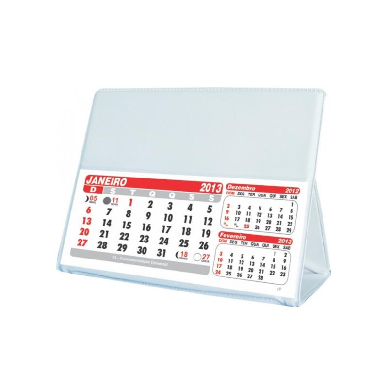 calendario de mesa em PVC